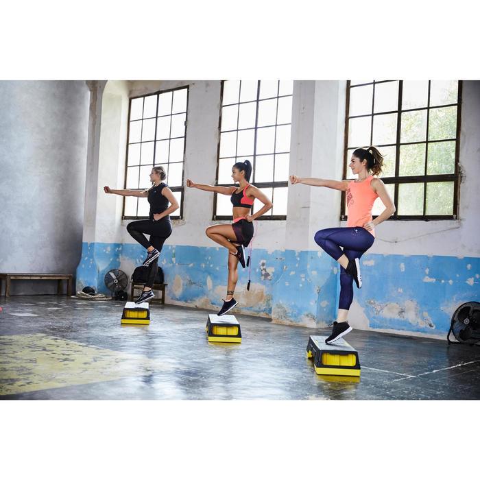 Brassière fitness cardio-training femme noire et rose 500