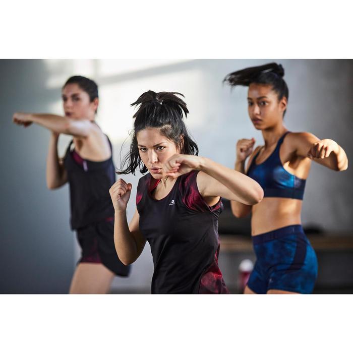 T-shirt fitness cardio femme bleu marine à imprimés roses 500 Domyos - 1503600