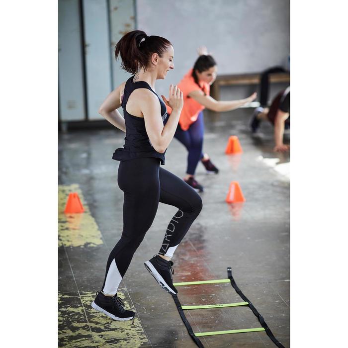 Camiseta sin mangas fitness cardio-training mujer negro estampados blancos 120