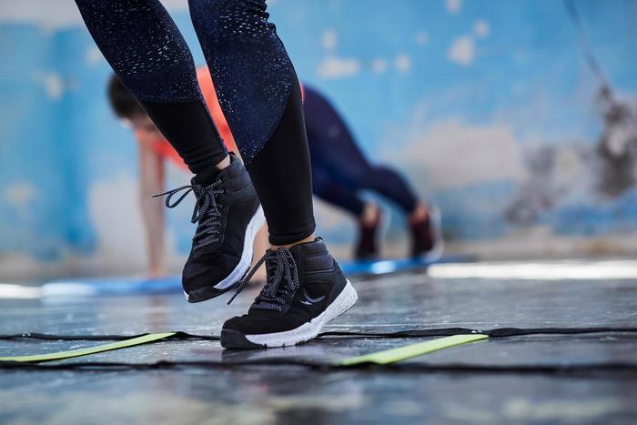 Fitnessschoenen Cardio 100 mid voor dames zwart
