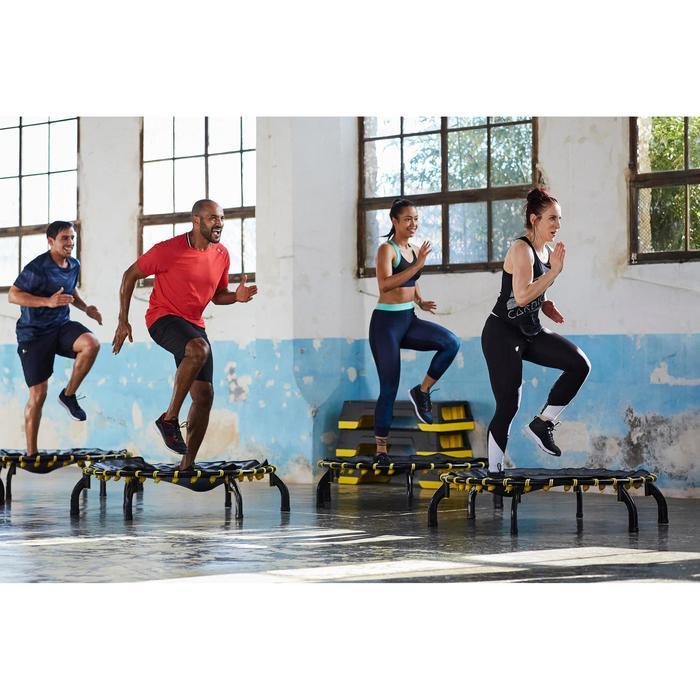 Débardeur fitness cardio-training femme noir avec imprimés blancs 120