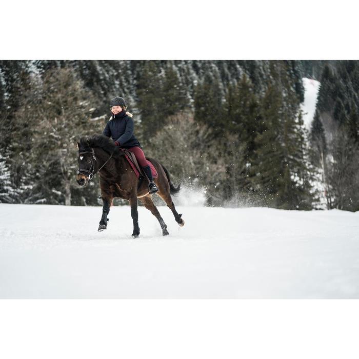 Parka cálida e impermeable equitación júnior 500 WARM azul marino/burdeos