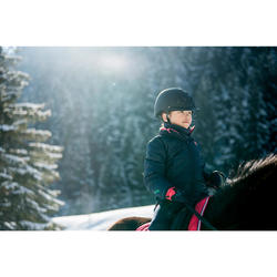 Cazadora cálida equitación niños 500 WARM azul marino/rosa