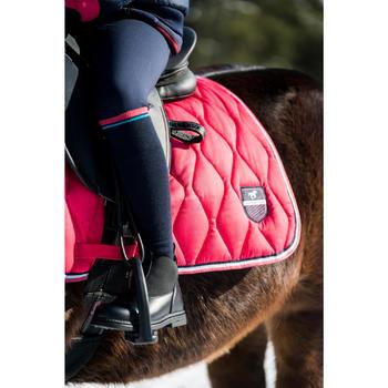 Warme paardrijkousen voor kinderen 500 WARM marineblauw/roze 1 paar