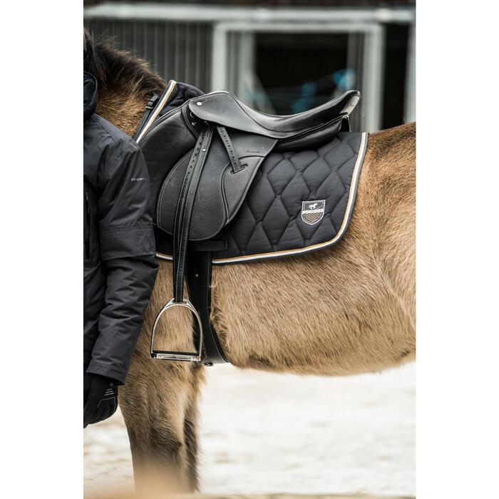 Tapis de selle équitation cheval et poney 500 gris foncé et camel