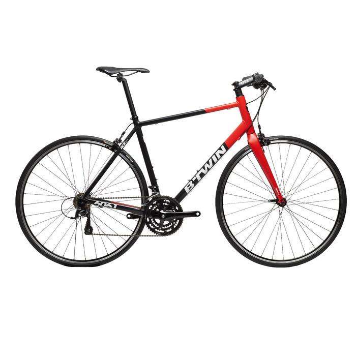 Racefiets Triban 520 FB voor wielertoeristen zwart/rood/wit