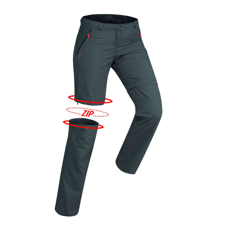 WOMEN APPAREL OUTFIT MOUNTAIN TREK Trekking - Forclaz 100 Women's Convertible Walking Trousers - Dark Grey FORCLAZ - Trekking