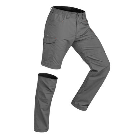מכנסיים מודולריים לגברים דגם TREK 500 לטרקים  - אפור כהה