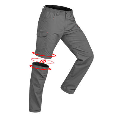 Men's Mountain Trekking Modular Trousers - TREK100 Dark Grey
