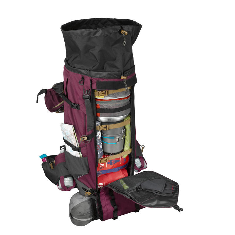 Women's mountain trekking rucksack | TREK 900 Symbium 70+10L - burgundy |  forclaz