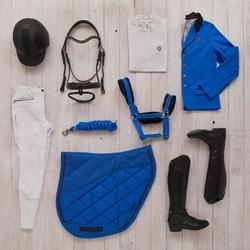 Polo de concours manches courtes équitation femme 500 COMPET blanc