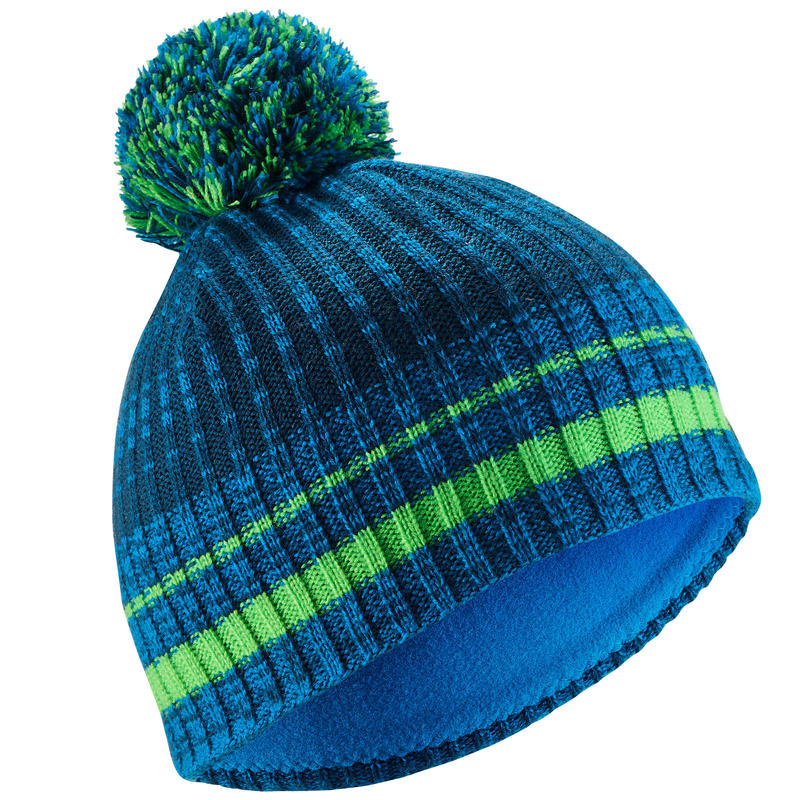 KIDS' SKI HAT RIB - BLUE GREEN