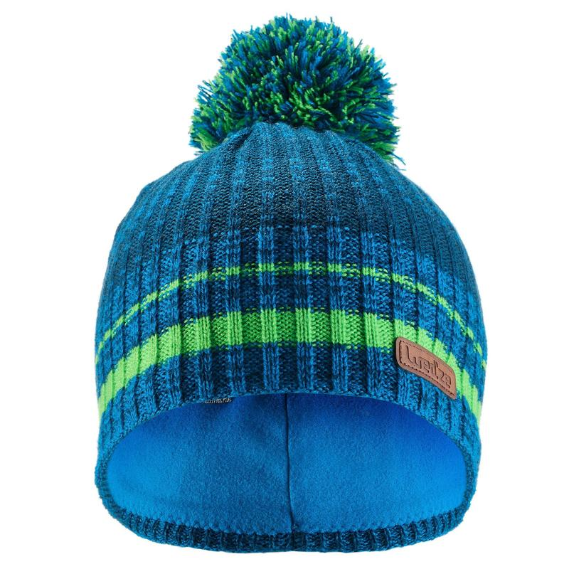 CHILD S RIBBED SKI HAT GREEN BLUE  0d2be67c935