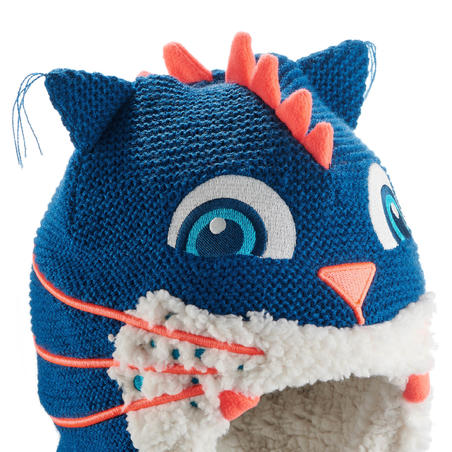 TUQUE DE SKI PÉRUVIENNE MONSTRE CHAT KID BLEUE
