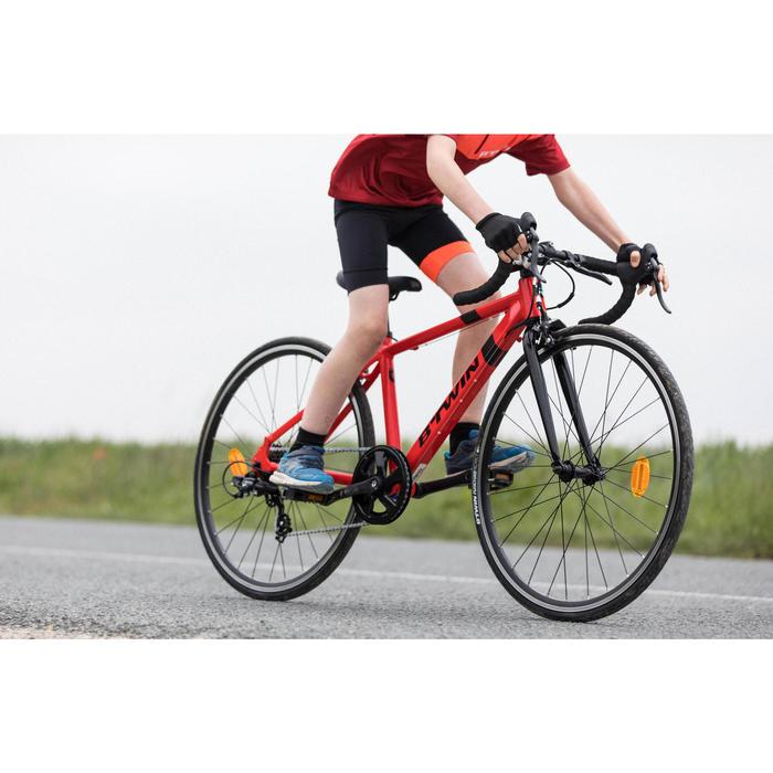 Cuissard sans bretelle vélo enfant 500 noir/rouge