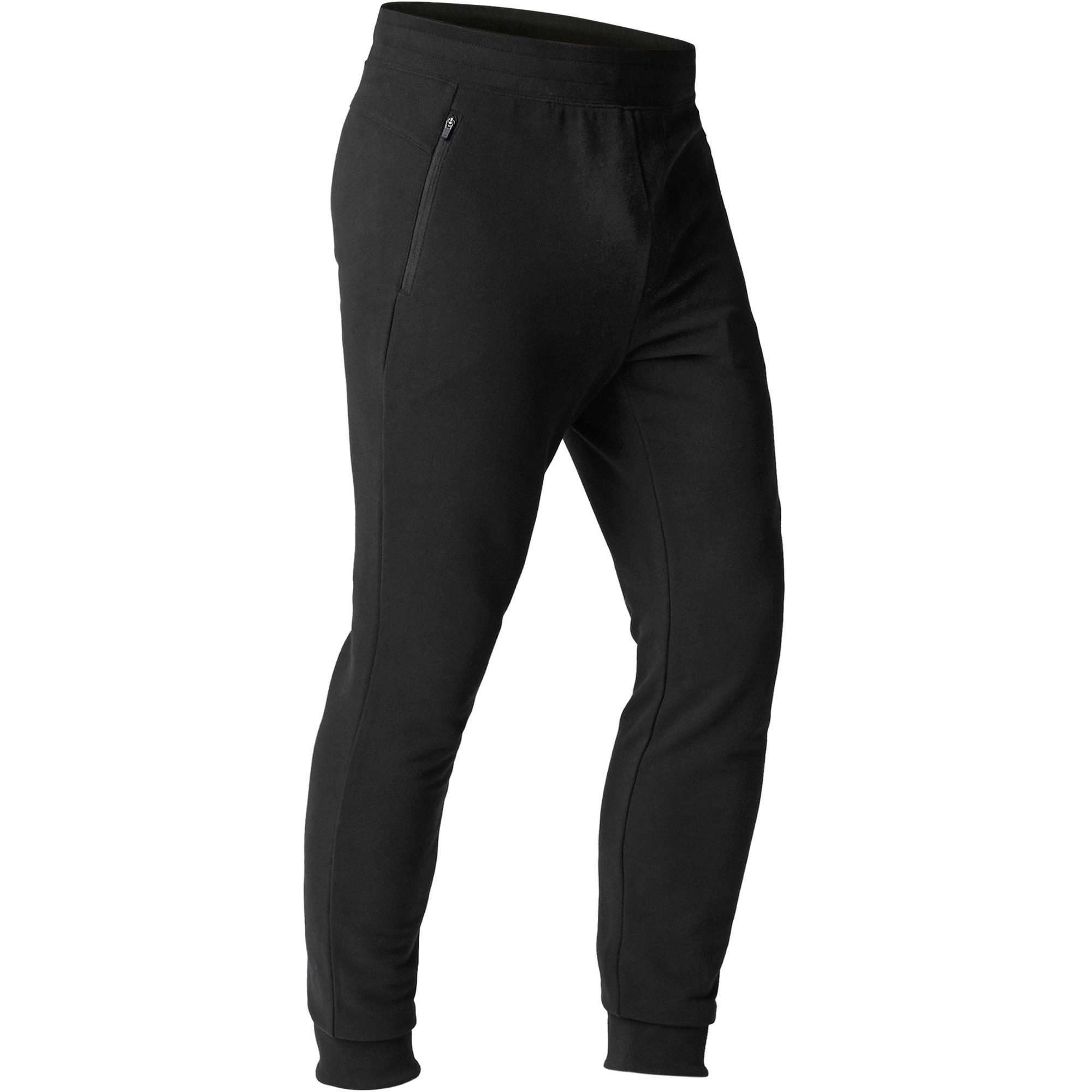 jogginghose 500 slim zip pilates sanfte gymnastik herren. Black Bedroom Furniture Sets. Home Design Ideas