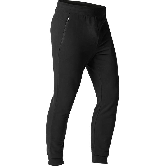 Pantalon 500 slim zip Pilates Gym douce noir homme