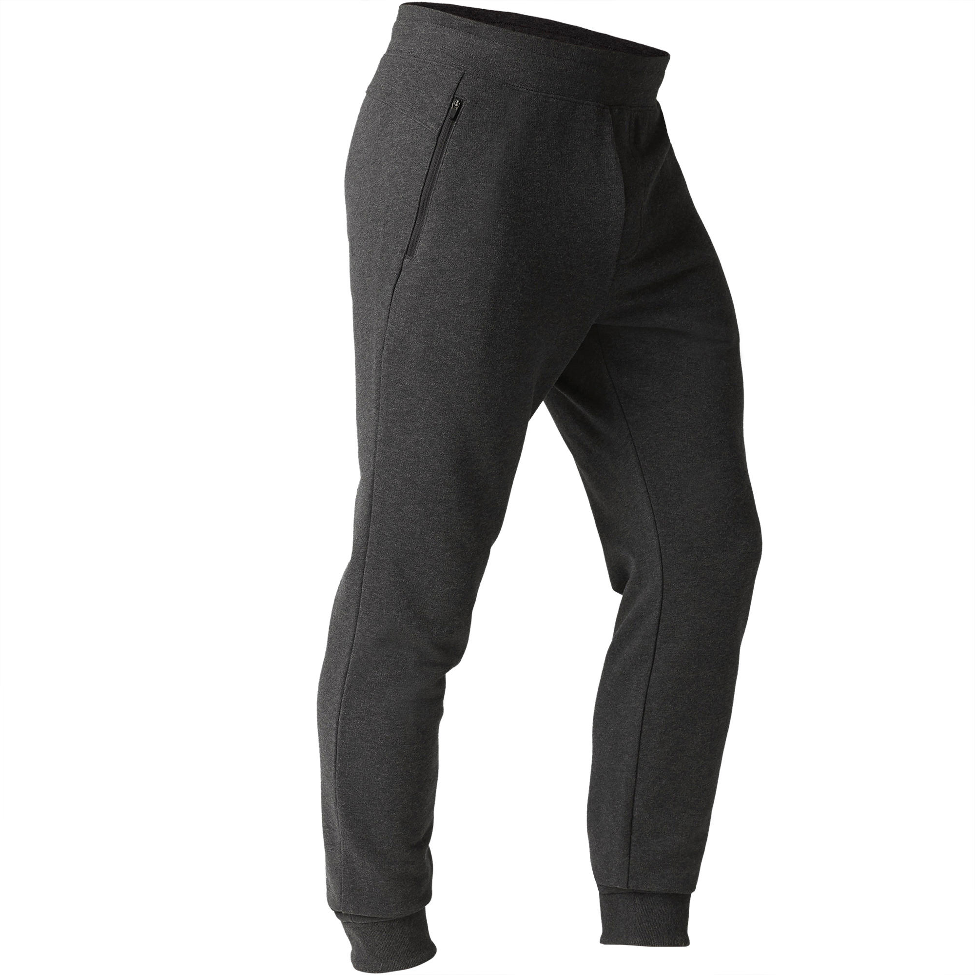 Pantalon 500 ajusté zip gymnastique d'étirement homme gris foncé