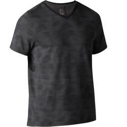 Heren T-shirt 520 voor gym en stretching regular fit V-hals zwart AOP