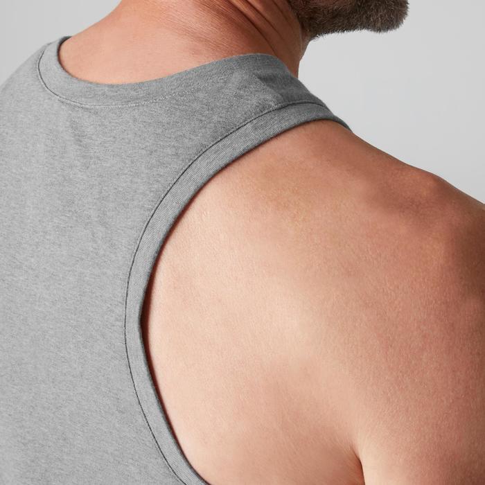 Mouwloos shirt voor pilates/lichte gym heren 500 gemêleerd lichtgrijs