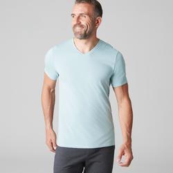 Camiseta 500 slim cuello de pico gimnasia Stretching hombre azul claro