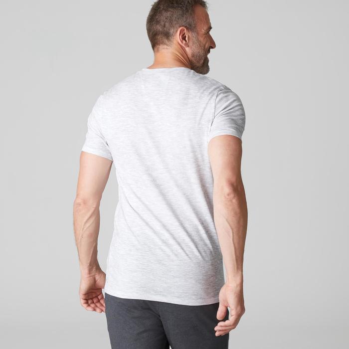 T-Shirt 500 V Slim Gym & Pilates Herren weiß