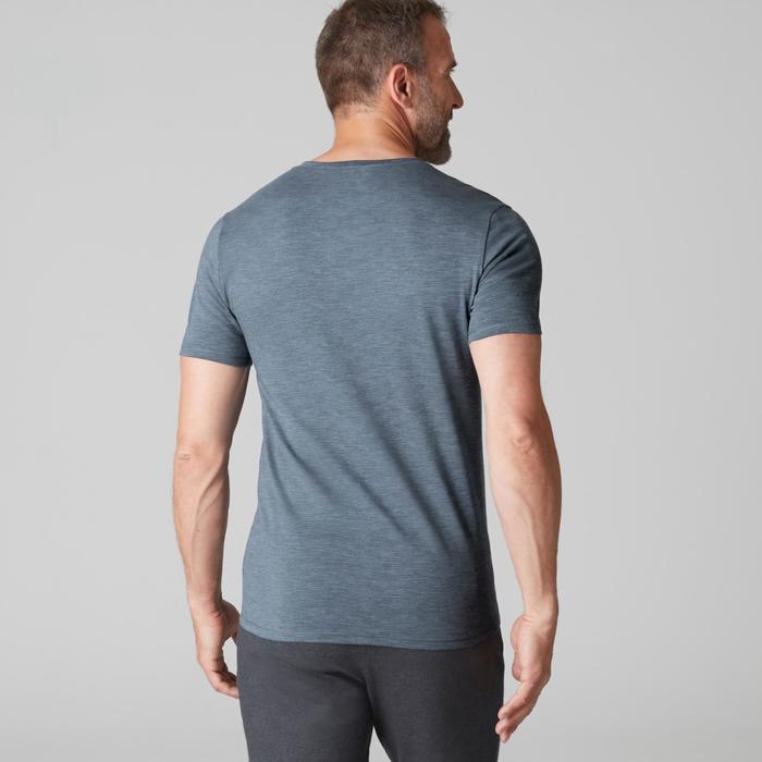 T-Shirt Gym 500 V-Ausschnitt Slim Herren Fitness blau