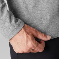 Shirt lange mouwen voor pilates en lichte gym heren 100 regular fit grijs