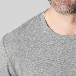 Camiseta 500 regular Pilates y Gimnasia suave hombre gris claro jaspeado