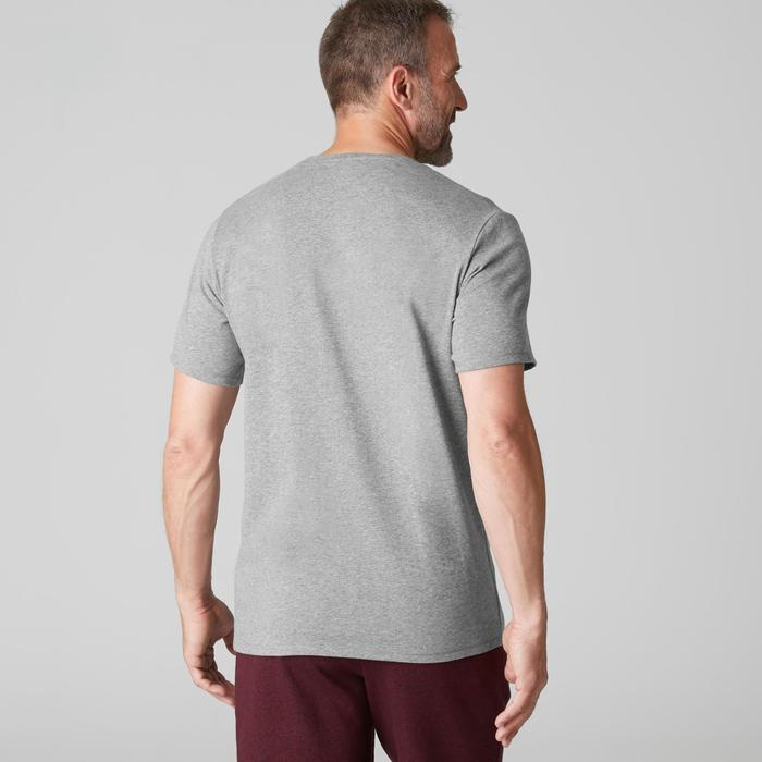 T-shirt 500 regular Pilates Gym douce homme gris clair chiné