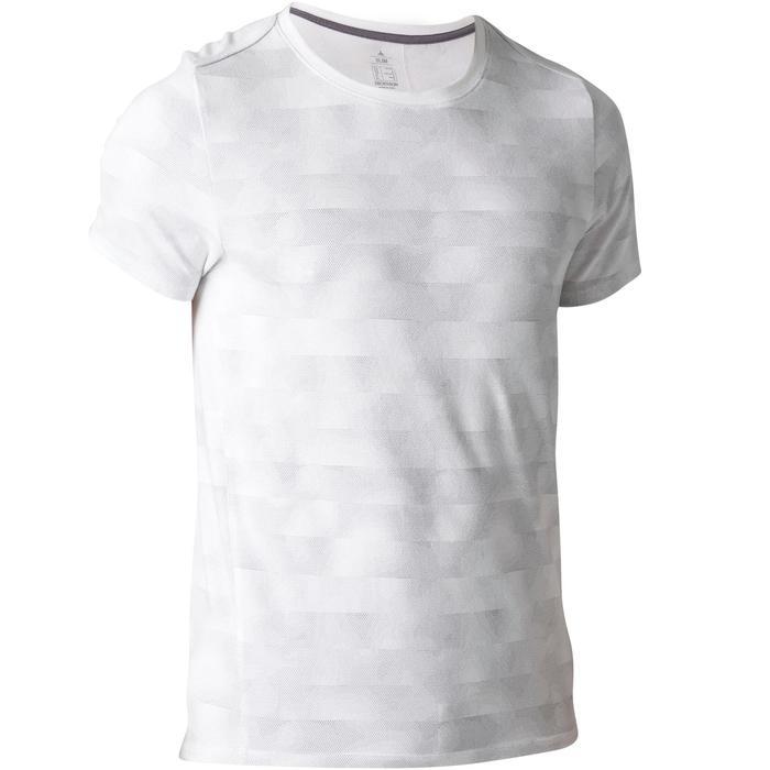 Camiseta 520 slim cuello redondo Gimnasia Stretching hombre blanco AOP
