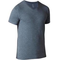 T-shirt 500 V-hals slim fit gym en stretching heren blauw AOP