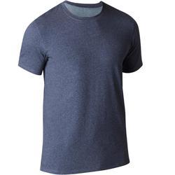 Heren T-shirt 500 voor gym en stretching regular fit blauw