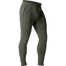 Herenbroek 500 voor gym en stretching skinny fit met rits kaki