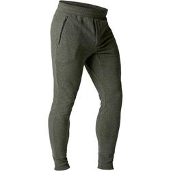 Pantalon 500 skinny zip Gym Stretching homme kaki