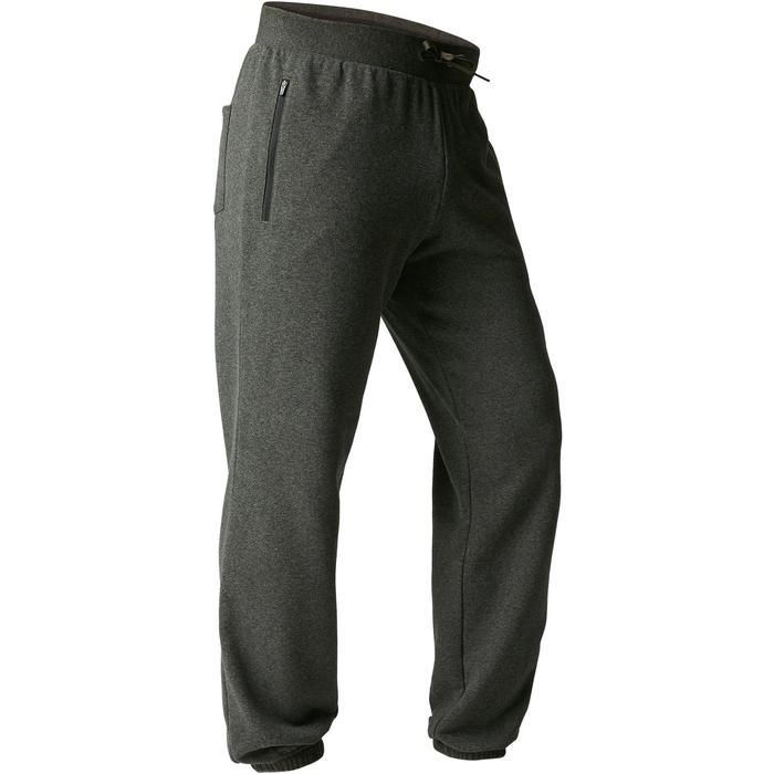 Pantalon 500 regular zip Gym Stretching homme kaki chiné