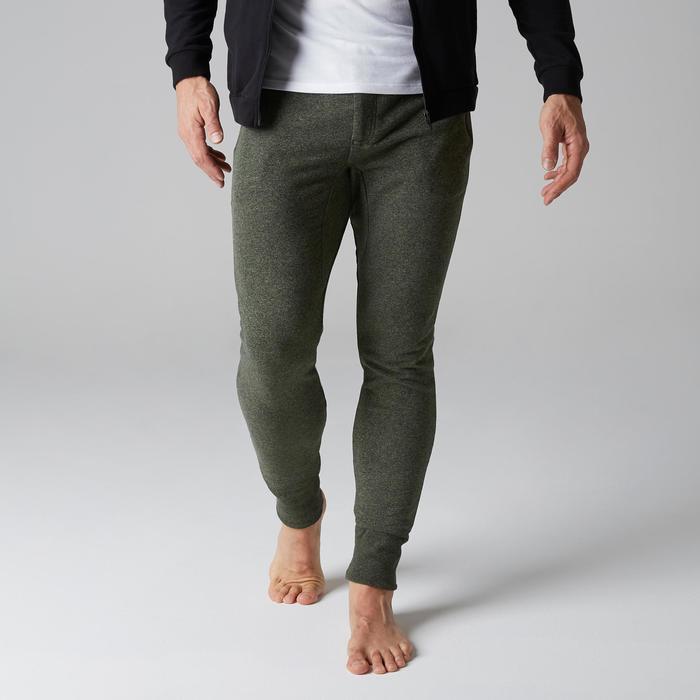 Pantalon 500 skinny zip Gym Stretching homme kaki