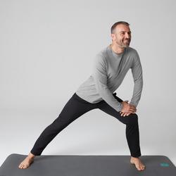 Shirt met lange mouwen voor pilates/lichte gym heren 100 regular fit gem. grijs