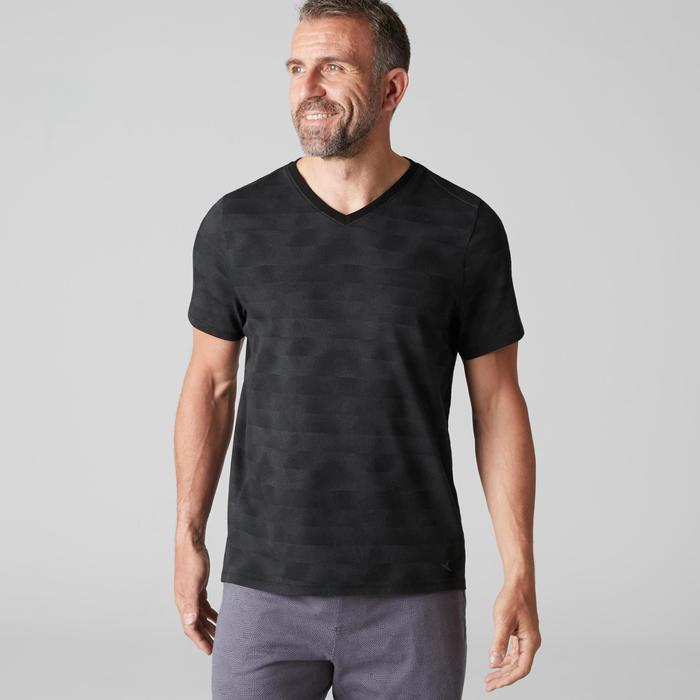 T-Shirt 520 col V regular Gym Stretching noir AOP homme
