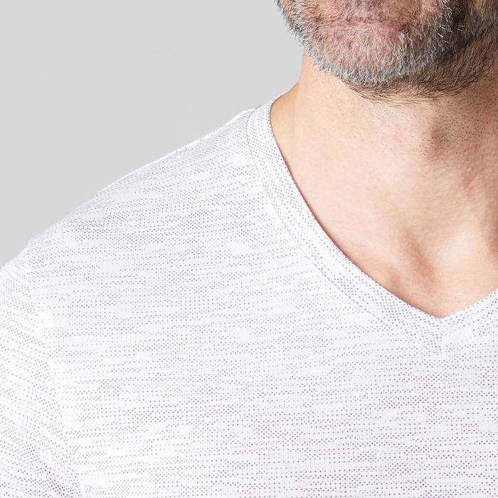 T-Shirt Gym 500 V-Ausschnitt Slim Fitness Herren weiß