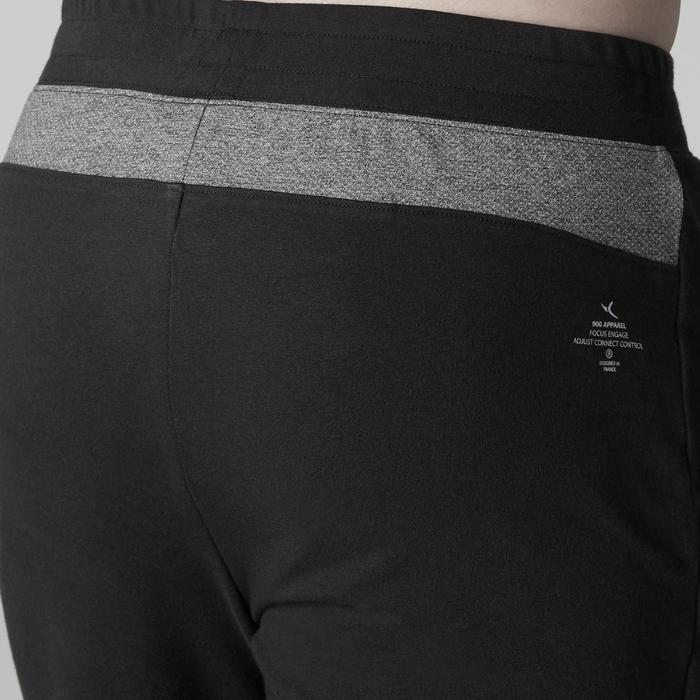 Herenshort 900 voor gym stretching pilates slim fit tot boven de knie zwart