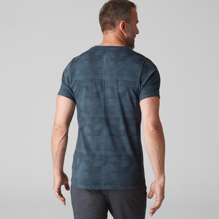 T-shirt 520 col V slim Gym Stretching homme bleu AOP