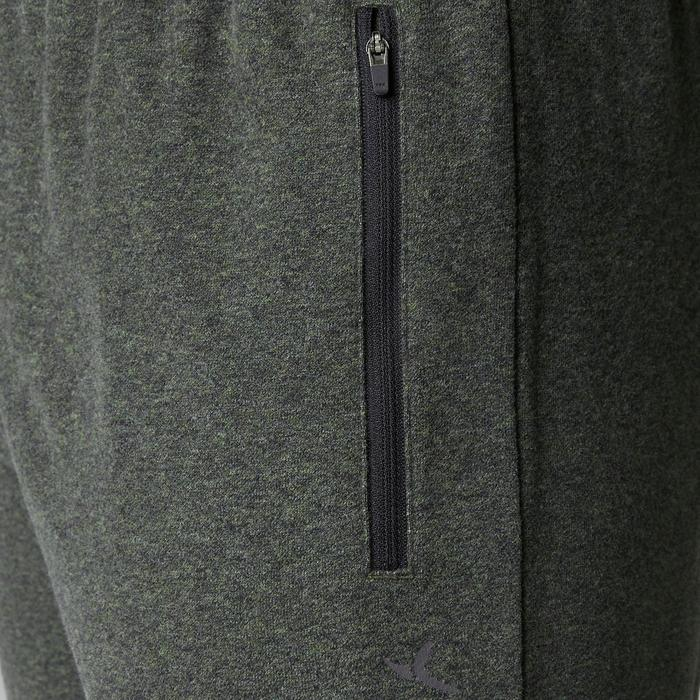 Pantalon 500 regular zip Gym Stretching homme kaki chiné