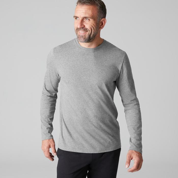 Langarmshirt 100 Regular Gym & Pilates Herren grau meliert