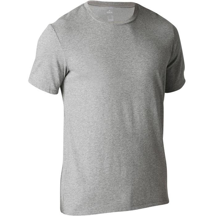 標準剪裁皮拉提斯與溫和健身T恤500 - 雜淺灰