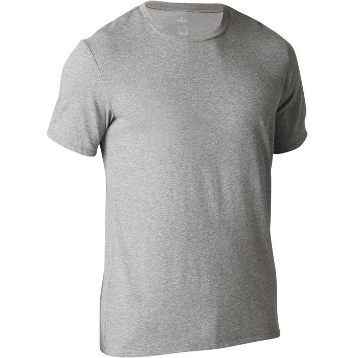 T-Shirt Gym 500 Regular Herren Fitness graumeliert