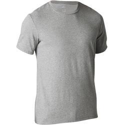 T-shirt 500 regular Pilates Gym douce homme gris clair chiné