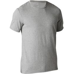 T-Shirt Gym 500 Regular Herren Fitness graumeliert