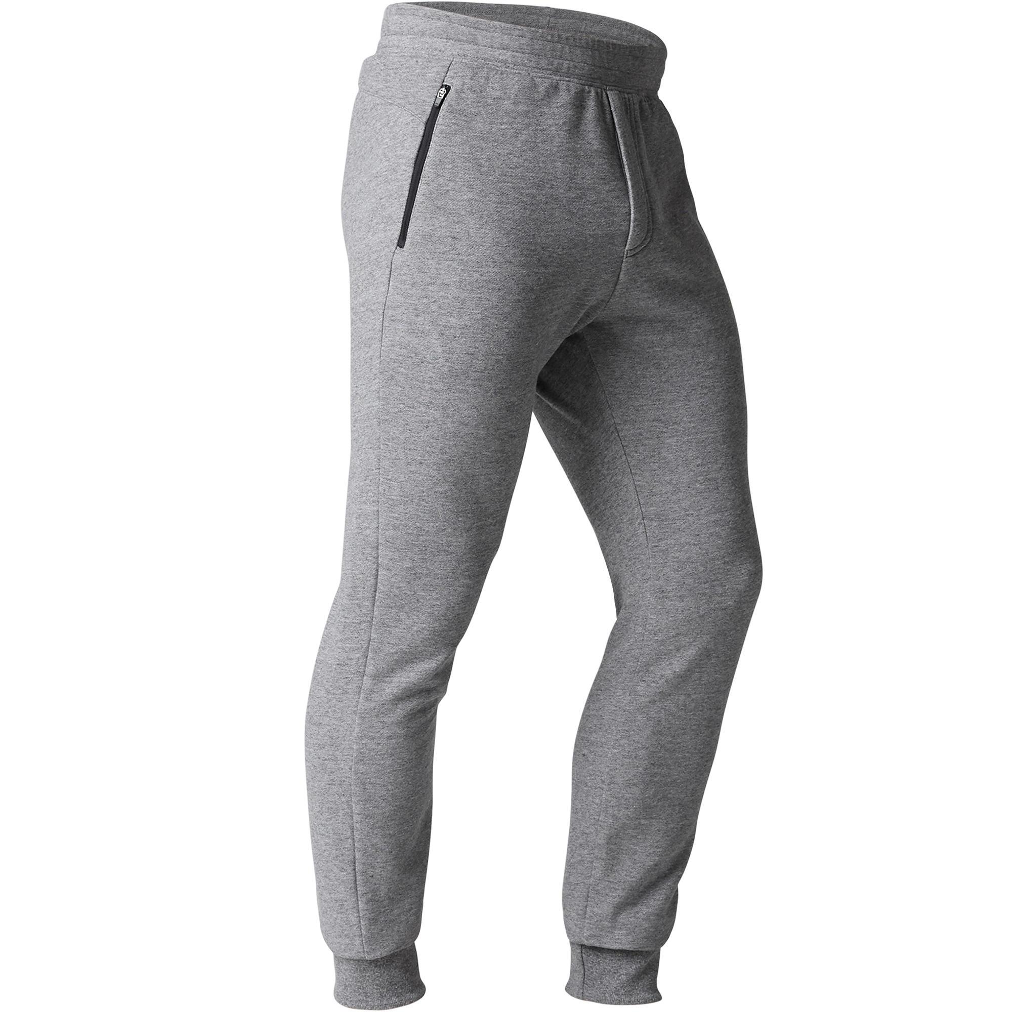 Pantalon 900 ajusté zip gymnastique d'étirement homme gris clair