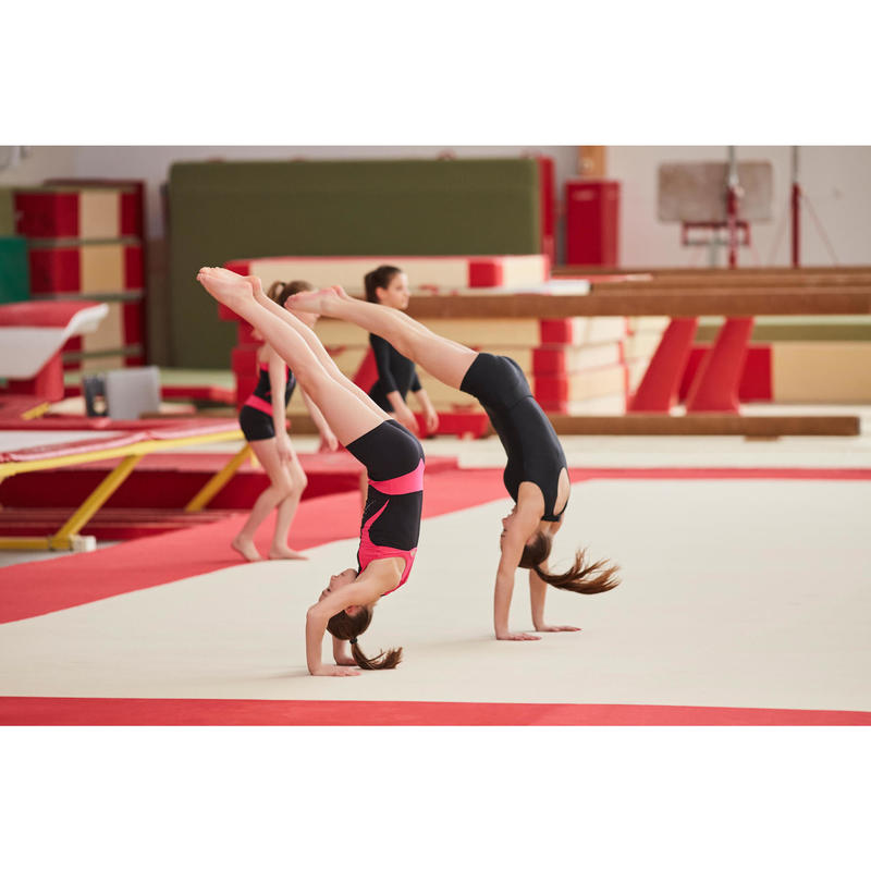 Girls Artistic Gymnastics Biketard Black And Pink Sequins Domyos By Decathlon